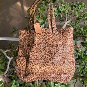 Neiman Marcus leopard cheetah tote bag drawstring